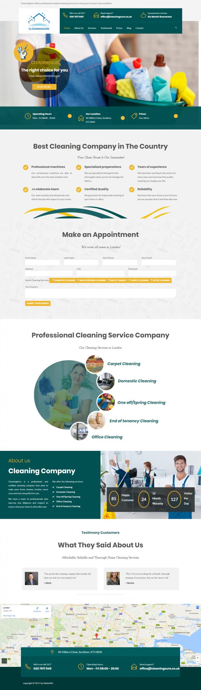 Изработка на английски сайт за професионално почистване, https://webnime.com/