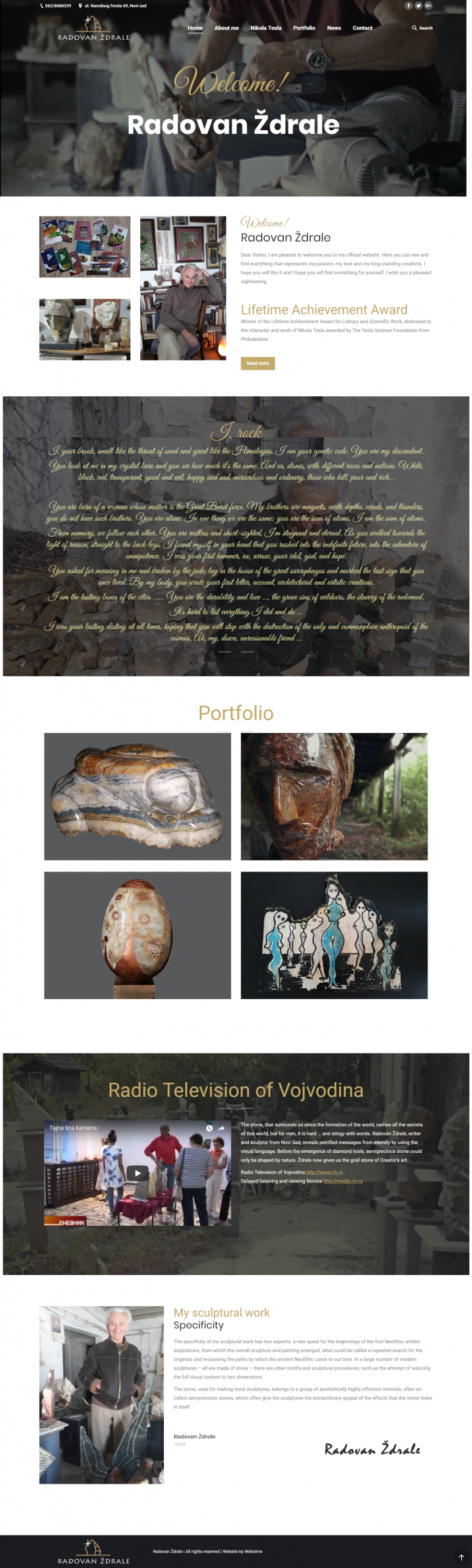 Изработка на сайт за Radovan Ždrale, https://webnime.com/