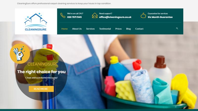 Изработка на английски сайт за професионално почистване, https://webnime.com