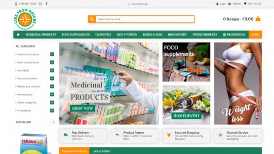 Изработка на онлайн магазин - Care from nature, https://webnime.com