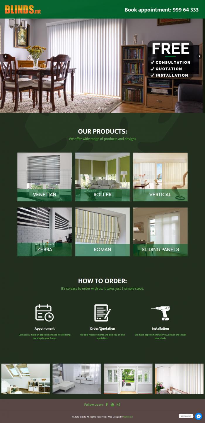 Изработка на сайт - blinds